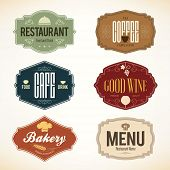 stock photo of food label  - Label and logo set for restaurant menu design - JPG