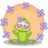 picture of orange frog  - Greeting card frog with flowers on orange - JPG