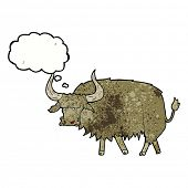 picture of hairy  - cartoon annoyed hairy cow with thought bubble - JPG