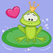 image of princess crown  - Cartoon Princess Frog with crown and heart - JPG