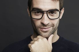 pic of shot glasses  - Portrait of mid adult man wearing glasses - JPG