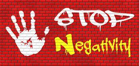 foto of think positive  - no pessimism stop negativity think positive stop pessimistic thoughts dont think negative but positive and optimistic thinking makes you happy graffiti on red brick wall - JPG