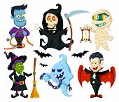picture of witch  - A set of cute flat cartoon characters for Halloween - JPG