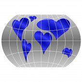 foto of continent  - A world globe with continents in the shape of a heart symbols - JPG