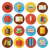 Flat Reading Knowledge And Book Circle Icons Set With Long Shadow poster