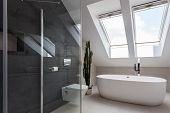 image of shower-cubicle  - Shower cubicle and bathtub in elegant bathroom - JPG