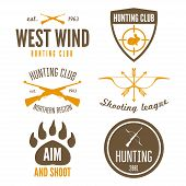 Set of logo, emblem, label or logotype elements for hunting club, shooting club poster