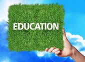 pic of academia  - Banner of grass with text education - JPG