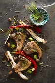 stock photo of leek  - Lamb chops cooked on the grill with leek and red pepper - JPG