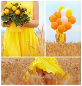 image of fanny  - collage in yellow tones of beautiful young woman on summer wheat field - JPG