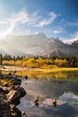 pic of italian alps  - Fall is coming in the italian alps