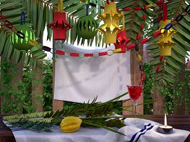 stock photo of sukkot  - Symbols of the Jewish holiday Sukkot with palm leaves and candle - JPG