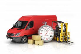stock photo of forklift  - Cardboard package box with stopwatch and delivery vehicle with forklift truck on the white background - JPG