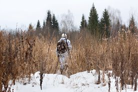 image of hunter  - hunter with gun on the snowy field - JPG