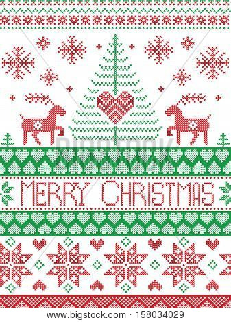 Merry Christmas In Norwegian.Merry Christmas Tall Scandinavian Printed Textile Style And Inspired By Norwegian Christmas And Festive Winter Seamless Pattern In Cross Stitch With