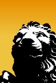 Black and white lion on yellow background. Vector