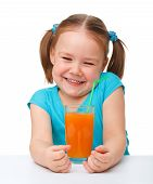 Happy Little Girl With Orange Juice