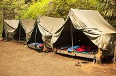 foto of boy scout  - A series of basic canvas tents on wooden tent platforms at a Boy Scout camp provide the basics for shelter and not much more - JPG
