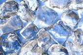 image of ice-cubes  - macro of ice cubes in a blue bin - JPG