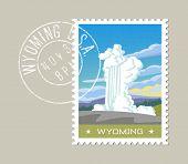 Постер, плакат: Wyoming postage stamp design  Vector illustration of exploding geyser Grunge postmark on separate