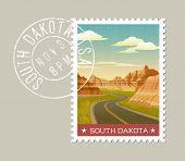 Постер, плакат: South Dakota postage stamp design  Vector illustration of scenic Badlands Grunge postmark on sepa