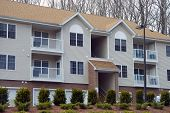 picture of residential home  - Apartment buildings on a downtown USA town - JPG