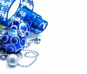 Christmas and New Year Blue color Decoration isolated on white background. Border art design with ho poster