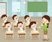Students Hand Up In Classroom poster