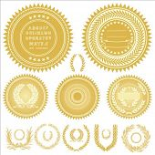 Set of gold medals or seals. All pieces are separate and easy to edit.