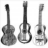 Постер, плакат: Набор марочных векторных иллюстраций гитара