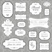 Set of ornate vector frames and ornaments with sample text. Perfect as invitation or announcement. A