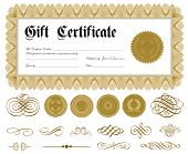 Vector ornate certificate frame and ornaments. Easy to edit. Perfect for gift certificates or announ