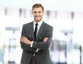 Handsome smiling confident businessman portrait poster