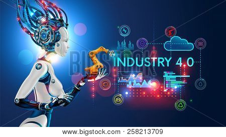 poster of Concept Industry 4.0. Artificial Intelligence Automation Of Product Manufacturing On Smart Factory.