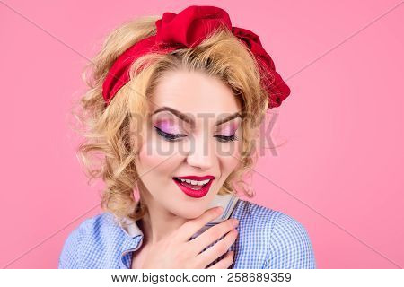 Closeup Portrait Woman With Bright