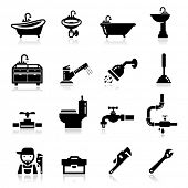 stock photo of pipe wrench  - Icons set Plumbing - JPG