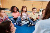 Elementary school kids sitting on floor looking at teacher poster