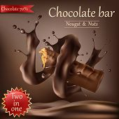 Realistic Sweet Chocolate Bar With Nougat, Nuts And Caramel Wrapped In Spiral Melted Chocolate Isola poster