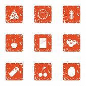 Relaxed Life Icons Set. Grunge Set Of 9 Relaxed Life Icons For Web Isolated On White Background poster