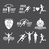 Run Club Logo, Emblem With Abstract Running Man Silhouette, Label For Sports Club, Sport Tournament, poster