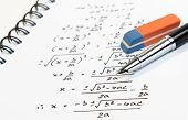 Handwriting Of Mathematics Quadratic Equation Formula On Examination, Practice, Quiz Or Test In Math poster