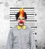 foto of immoral  - Bucko The Soon To Be Married Clown Looks Very Unhappy During A Funny Police Identification Photo After A Bucks Party Gone Wrong - JPG