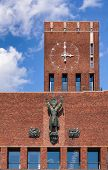 Facade detail of the Oslo City Hall (Radhus), a municipal building and major landmark in Central Osl poster