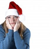 image of sad christmas  - woman isolated with the christmas blues - JPG