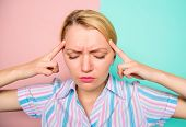 Woman Painful Face Suffers Headache. Woman With Migraine Suffer From Pain. Headache And Stress Healt poster