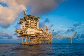 Offshore Oil And Gas Central Facility In The Gulf Where Produce Raw Gas Condensate And Crude Oil And poster