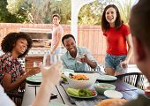 Young adult friends sitting outdoors for lunchtime barbecue poster