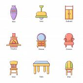 Outside The Town Icons Set. Cartoon Set Of 9 Outside The Town Vector Icons For Web Isolated On White poster