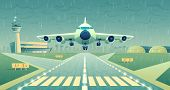 Vector Cartoon Illustration, White Airliner, Jet Over Runway. Takeoff Or Landing Of Commercial Airpl poster