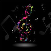 pic of music note  - TREBLE CLEF MUSIC NOTES ILLUSTRATION - JPG